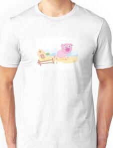 Vector - Pig on farm. Funny animal with farmhouse in background. Vector cartoon Illustration. Unisex T-Shirt