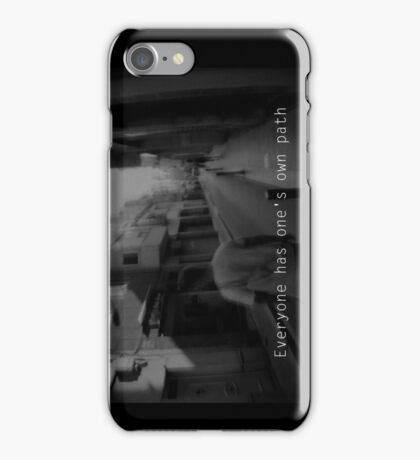 Lomography white and black photo with text  about travel and your path iPhone Case/Skin