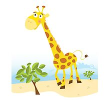 Giraffe. Vector Illustration of funny animal. Photographic Print