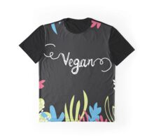 Vegan poster. Bright colorful leaves  Graphic T-Shirt