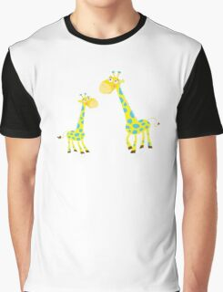 Vector Illustration of giraffe mother and son. Beautiful Kids illustration. Graphic T-Shirt