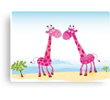 Giraffes in Love. Vector Illustration Canvas Print