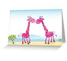 Giraffes in Love. Vector Illustration Greeting Card