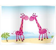 Giraffes in Love. Vector Illustration Poster