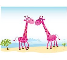 Giraffes in Love. Vector Illustration Photographic Print
