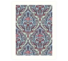 Botanical Moroccan Doodle Pattern in Navy Blue, Red & Grey Art Print