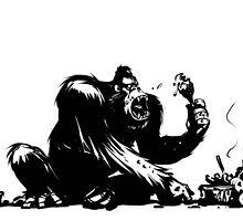 A gorilla eating BBQ by archibob