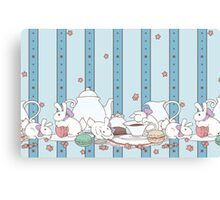 Peach Tea Bunnies - Blue Canvas Print