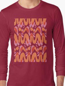 Orange waves pattern  Long Sleeve T-Shirt