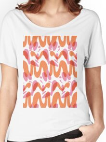 Orange waves pattern  Women's Relaxed Fit T-Shirt