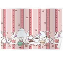 Peach Tea Bunnies - Pink Poster
