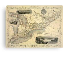 Map Of The Great Lakes 1851 Metal Print