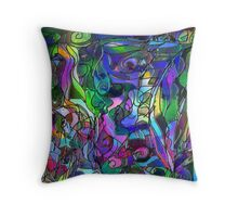 It Was the Very First Day: Colorful Abstract Art Throw Pillow