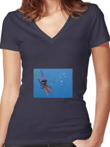 """Squizard"" with bubbles Women's Fitted V-Neck T-Shirt"