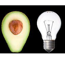 Random avocado and lightbulb Photographic Print