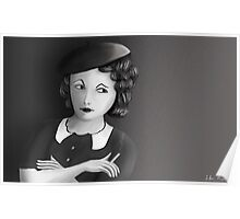 Film Noir Female Character Smoking Cigarette Looking Aside  Poster