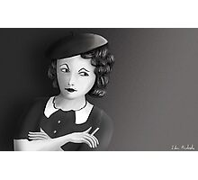 Film Noir Female Character Smoking Cigarette Looking Aside  Photographic Print