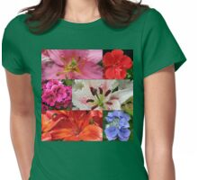Summer Beauties Floral Collage Womens Fitted T-Shirt