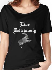 LIVE DELICIOULSLY - Black Phillip Style Women's Relaxed Fit T-Shirt