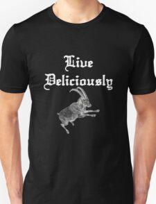 LIVE DELICIOULSLY - Black Phillip Style Unisex T-Shirt