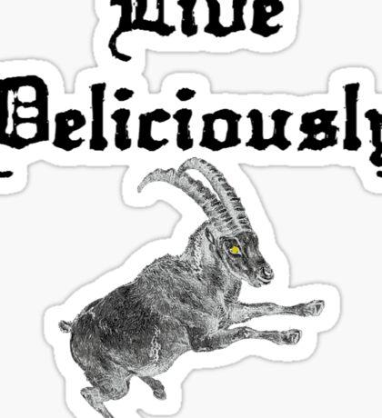 LIVE DELICIOUSLY - black phillip style! Sticker