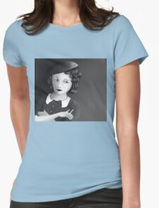 Film Noir Female Character Smoking Cigarette Looking Aside  Womens Fitted T-Shirt