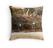 Brolgas, male and female Throw Pillow