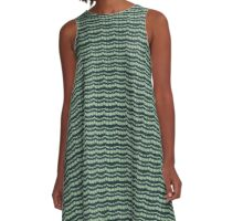 Blue and Green Knit A-Line Dress