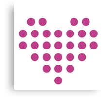 Dotted Heart - White & Pink Canvas Print
