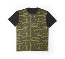 Yellow Circuits Graphic T-Shirt