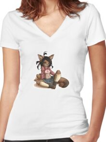 Pretty Cute 1 Women's Fitted V-Neck T-Shirt