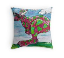 Prue the Pink Kangaroo Throw Pillow