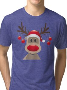 Reindeer Coming- Reindeer Christmas Sweater Tri-blend T-Shirt
