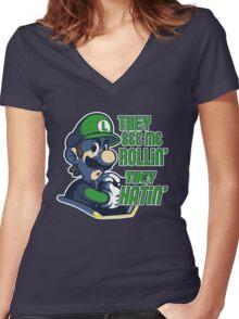 Luigi MK8 - Ridin' Dirty Women's Fitted V-Neck T-Shirt