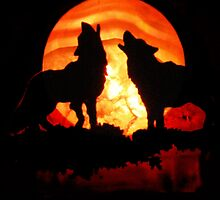 Wolves n Red Moon (14314) by Winona Sharp