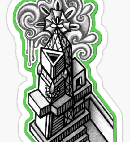Abstract Dimensions (Black and White) Design 010 Sticker