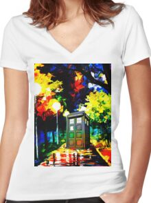 tardis starry night Women's Fitted V-Neck T-Shirt
