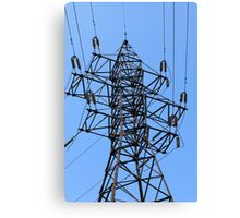 electricity pylon power line Canvas Print