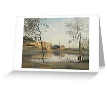 Jean-Baptiste-Camille Corot  FRENCH CITY AVRAY,  POND, THE HOUSE Mr. COROT FATHER AND BOOTH Greeting Card