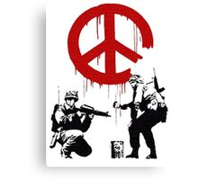 Soldiers Painting Peace For Bansky Graffiti Canvas Print