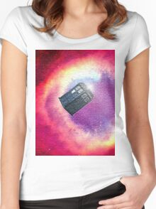 tardis starry night Women's Fitted Scoop T-Shirt