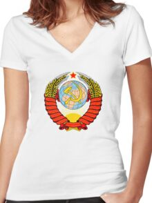Soviet Coat of Arms Women's Fitted V-Neck T-Shirt