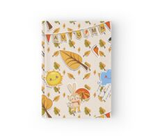 Vector seamless background of forest dwellers and trees. Funny Bunny with umbrella under the cloud. The cheerful sun, rainy cloud, old owl with a cane and a funny Bunny in boots. Hardcover Journal