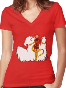 Fire and Life Women's Fitted V-Neck T-Shirt