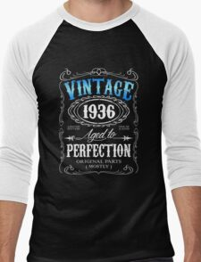 80th birthday gift for men Vintage 1936 aged to perfection 80 birthday Men's Baseball ¾ T-Shirt