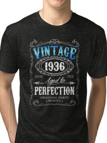 80th birthday gift for men Vintage 1936 aged to perfection 80 birthday Tri-blend T-Shirt