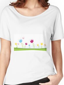Tulips. Spring flowers. Vector Illustration. Women's Relaxed Fit T-Shirt