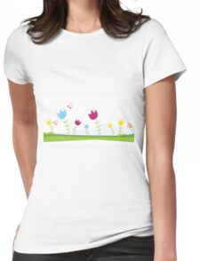 Tulips. Spring flowers. Vector Illustration. Womens Fitted T-Shirt