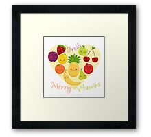 Vector image of fruit, funny cute vitamins. Framed Print