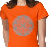 Burnt Orange, Coral & Grey doodle pattern Womens Fitted T-Shirt